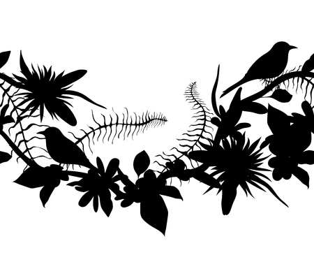 Seamless border with silhouettes of tropical birds, plants and flowers. Exotic flora and fauna. Vector illustration Vetores