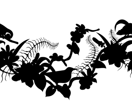Seamless border with silhouettes of tropical birds, chameleon, plants and flowers. Exotic flora and fauna. Vector illustration