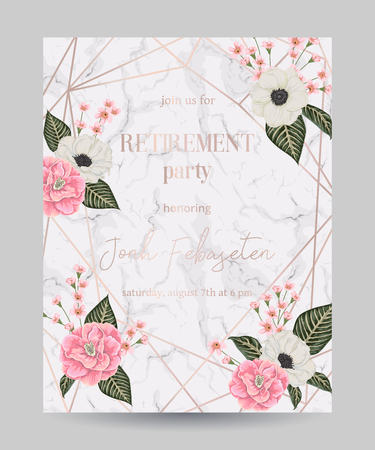 Retirement party invitation. Design template with rose gold polygonal frame and floral elements in watercolor style on white marble background. Vector illustration