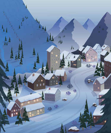 Ski resort. Beautiful landscapes with mountains, houses, hotels, fir trees and ski lift. Night scenery. Vector illustration
