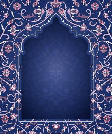 Arabic floral arch. Traditional islamic ornament. Mosque decoration design  element. Design template for greeting card, banner, poster, print. Vector illustration Ilustracja