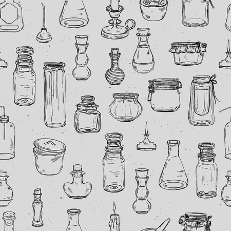 Seamless pattern with magic bottles. Empty alchemy jars for potions. Vintage vector illustration