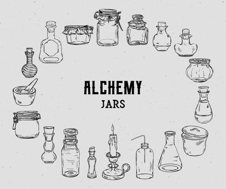 Empty alchemy jars for potions collection. Magic bottles for halloween decoration. Vintage vector illustration Illustration