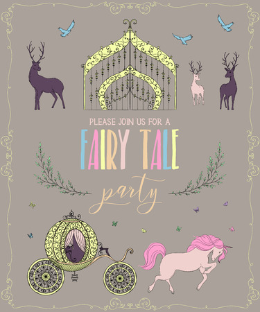 Fairy tale party invitation with gate, carriage, unicorn, deers and butterflies. Fairy tale theme. Vintage vector illustration Ilustração