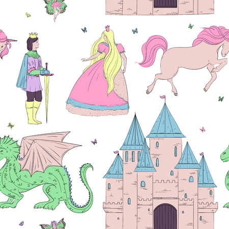 Seamless pattern with prince, princess, castle, dragon, fairy, horse. Fairy tale theme. Isolated objects. Vintage vector illustration Ilustração
