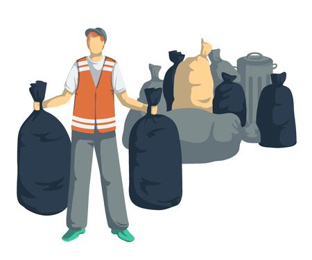 가방, 캔, 쓰레기통, 쓰레기 용기가있는 쓰레기 남자. 흰색 배경에 고립 된 개체입니다. 쓰레기 재활용 개념. 벡터 일러스트 레이 션