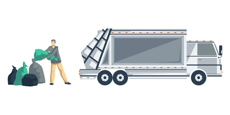 Garbage man loading trash bags to the garbage truck. Isolated objects on white background. Garbage recycling concept. Vector illustration
