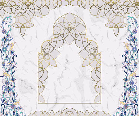 Arabic floral arch. Traditional islamic ornament on white marble background. Mosque decoration design element. Design template for greeting card, banner, poster, print. Vector illustration Illustration