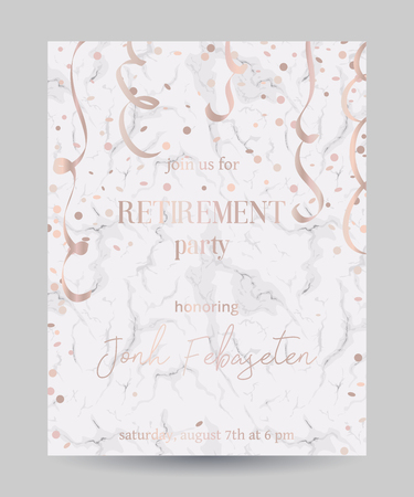 Retirement party invitation. Design template with confetti and serpentine on white marble background. Vector illustration