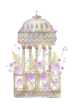 Antique garden urn with beautiful flowers. Vintage sculpture. Architectural element in victorian style. Isolated object on white background. Watercolor illustration