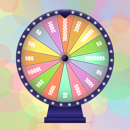 Fortune wheel on bokeh background. Lucky spin in pastel colors. Vector illustration.