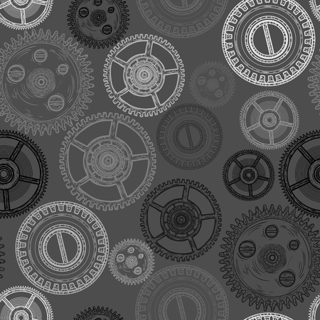 Seamless pattern with gear. Clockwork mechanism. Vector illustration