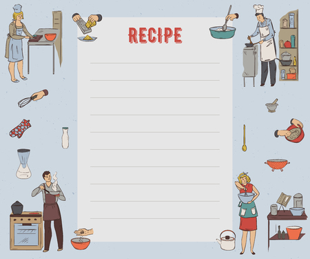 Recipe card. Cookbook page. Utensils and appliances. Set for restaurant, bakery and fast food. Vector illustration in sketch style