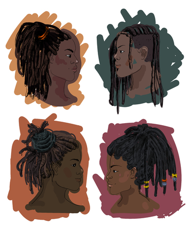 Portrait of men and women with dreadlocks in profile. Isolated on white background. Vector illustration in sketch style