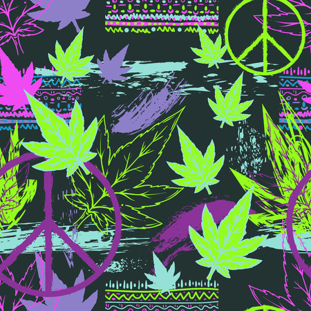 Seamless pattern with cannabis leaves, hippie peace symbol and grunge brush strokes. Abstract background in patchwork style. Vector illustration