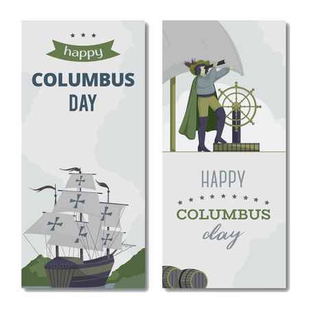 Happy Columbus day. Greeting card with ship, landscape and seaman with telescope. Isolated objects on white background. Vector illustration
