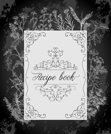 Książka kucharska z przepisami z antyczną ramą, ziołami i przyprawami. Vintage ilustracji wektorowych na tle tablicy