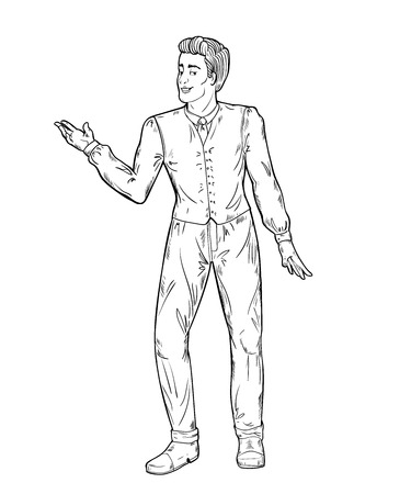 Showman. Portrait full length. Smiling young male entertainer, presenter or actor. Black and white vector illustration