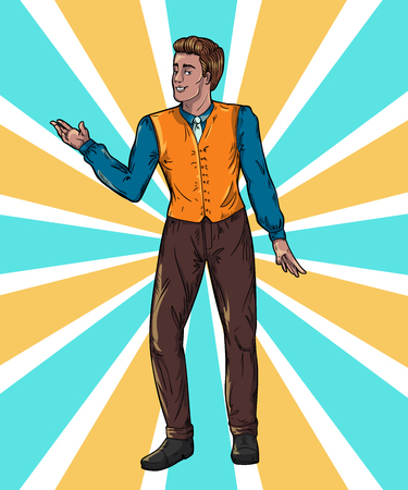 Showman on rays background Portrait full length. Smiling young male entertainer, presenter or actor. Vector illustration Ilustração