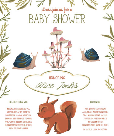 Baby shower invitation with little squirrel, snails, mushrooms and leaves. Cute cartoon characters. Hand drawn vector illustration in watercolor style
