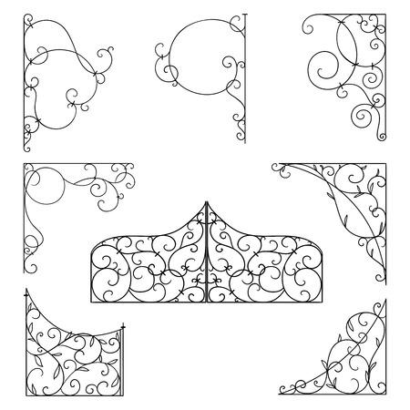 Forged brackets for signboards. Vintage corner ornament. Decorative design element filigree. Vector illustration