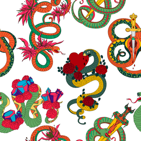 Seamless pattern with snakes set. Old school tattoo design. Colorful reptiles on white background. Vector illustration