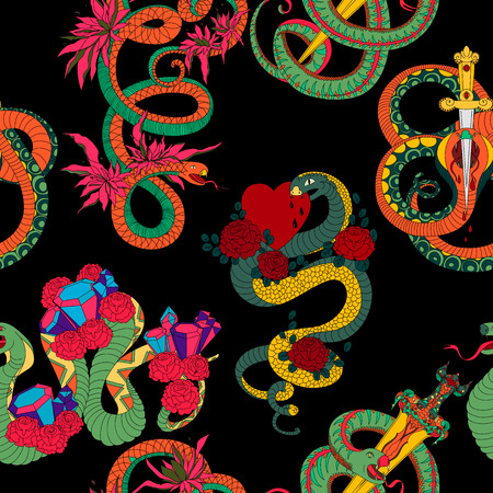Seamless pattern with snakes set. Old school tattoo design. Colorful reptiles on black background. Vector illustration