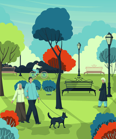 Retired people walking in the city park. Landscape with trees, bushes, benches, lanterns. Vector illustration Illustration