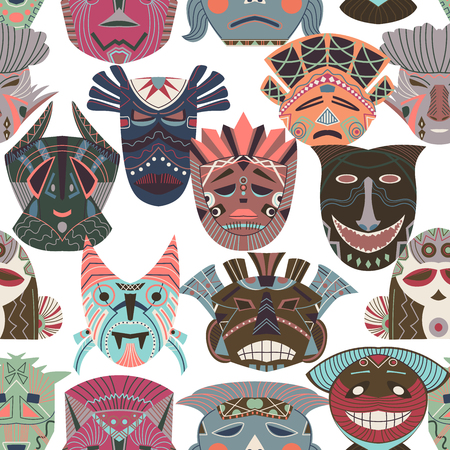 Seamless pattern with tribal masks. African ethnic background with geometric elements. Vector illustration Çizim