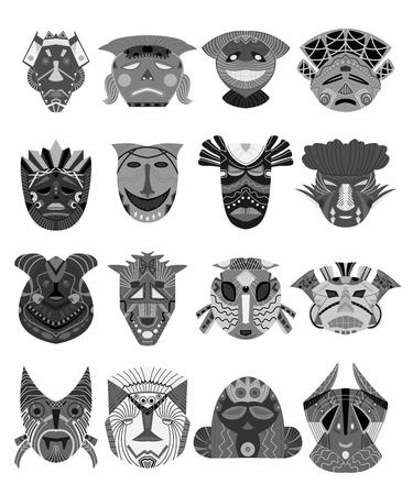 Conjunto de máscaras tribales. Elementos de diseño con adornos geométricos africanos. Objetos aislados sobre fondo blanco. Ilustración vectorial