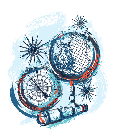 Poster with telescope, vintage globe and compass. Travel symbols on grunge background in watercolor style. Vector illustration