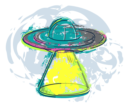 UFO spaceship with splashes in watercolor style. Unidentified flying object with light beam. Design concept for tattoo, banner, card, t-shirt, print, poster. Vector illustration