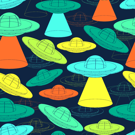 Seamless pattern with UFO spaceship. Unidentified flying object with light beam. Vector illustration Imagens - 124893380