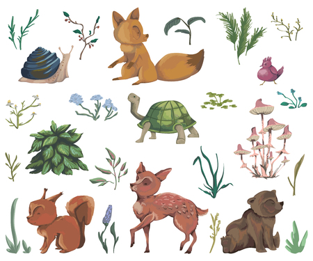 Collection of forest animals, mushroom, plant, flowers, berry, cones. Decorative elements in watercolor style for greeting card, baby shower party. Cartoon characters. Vector illustration.