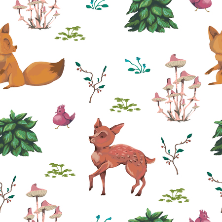 Seamless pattern with baby deer, fox, bird, bush, flowers, berries, berries and mushrooms. Cute cartoon characters. Hand drawn vector illustration in watercolor style 일러스트