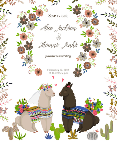 Save the date with sweet llamas couple in love. Cute cartoon characters with cacti and floral elements. Design concept for wedding invitation, greeting card. Vector illustration