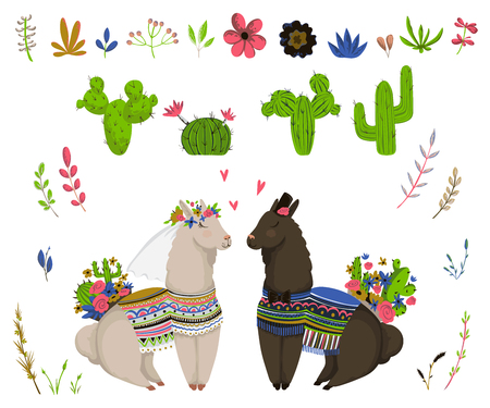 Sweet llamas couple with cacti and floral elements set. Cute cartoon characters in love. Design concept for wedding invitation, greeting card, print, poster. Vector illustration