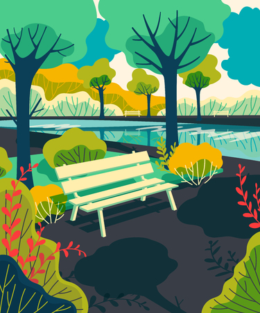 City park bench with lake, trees, bushes. Colorful landscape background. Vector illustration