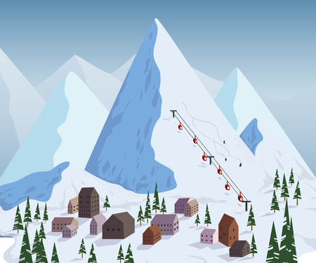 Ski resort. Trees and ski lifts. Vector illustration