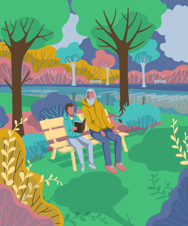 Grandfather with grandson sitting in the park and reading book. Vector illustration  イラスト・ベクター素材