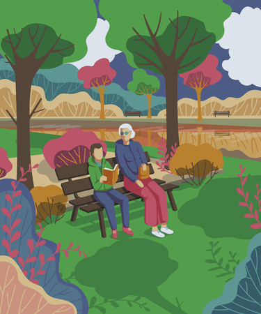 Grandmother with grandson sitting in the park and reading book. Vector illustration  イラスト・ベクター素材