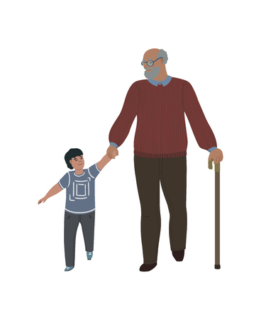 Grandfather with his grandson walking together. Isolated on white background. Vector illustration