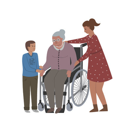 Grandmother sits in a wheelchair and takes care of her. Isolated on white background. Vector illustration Illustration