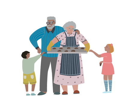 Grandfather and grandmother is a tray with self-baked cookies. Isolated on white background. Vector illustration