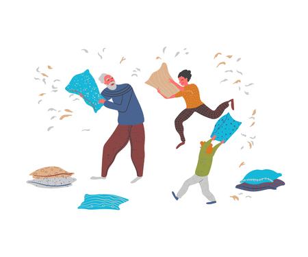 Großvater kämpfende Kissen auf weißem Hintergrund. Vektor-Illustration