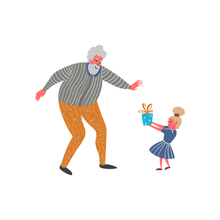 Granddaughter gives present to his grandfather. Funny cartoon characters. Isolated on white background. Vector illustration  イラスト・ベクター素材