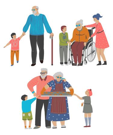 Grandparents with grandchildren set. Isolated on white background. Vector illustration  イラスト・ベクター素材