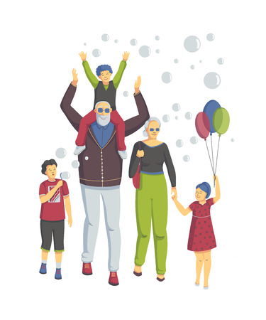 Grandparents with grandchildren have fun together. They have colorful balloons, laughing and blow bubbles. Isolated on white background. Happy grandparents day. Vector illustration Illustration