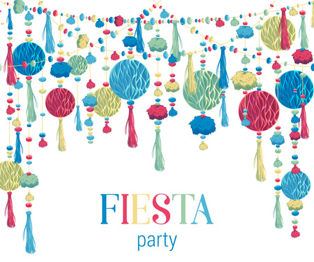 Fiesta party. Festive background with paper honeycomb, pompons, tassels, beads, garland. Design template for invitation, greeting card, banner, print. Colorful decorations. Vector illustration Stok Fotoğraf - 124893423
