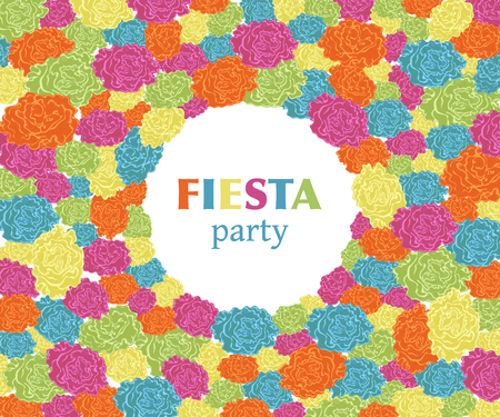Fiesta party. Festive background with paper flowers. Design template for invitation, greeting card, banner, print. Colorful decorations. Vector illustration